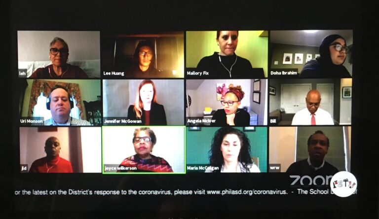 Screenshot of the virtual board of education committee meeting on April 23.