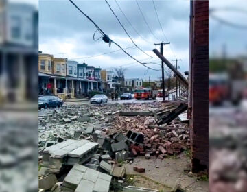 The scene outside a partial building collapse in Strawberry Mansion on Monday INSTAGRAM / @NOGUNZONE