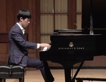 Pianist Junhui Chen performs on stage at Curtis