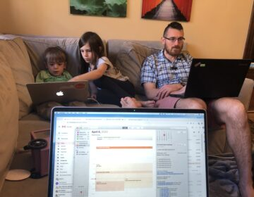 Playground designer Meghan Talarowski took this picture of her post-pandemic workspace, shared with her husband and two children (Meghan Talarowski)