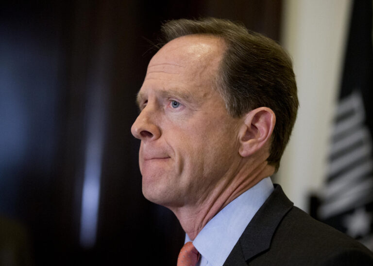 Sen. Patrick J. Toomey, R-Pa. speaks to reporters outside his office on Capitol Hill, in Washington, Tuesday, April 12, 2016. (Manuel Balce Ceneta/AP Photo, file)