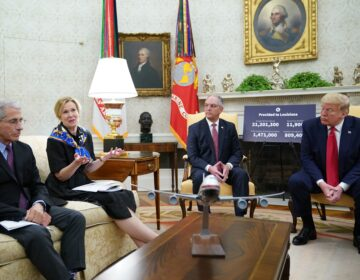 Dr. Anthony Fauci, left, director of the National Institute of Allergy and Infectious Diseases, listens as Dr. Deborah Birx, head of the White House coronavirus task force, talks during an Oval Office meeting with President Trump and Louisiana Gov. John Bel Edwards on Wednesday. (Mandel Ngan/AFP via Getty Images)
