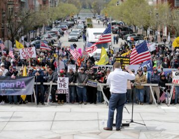 On Monday, four Republicans spoke on the steps of the Capitol to an angry crowd of hundreds of people protesting Gov. Tom Wolf's stay-at-home order.