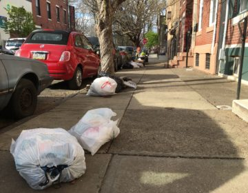 City sanitation workers did not make their usual stop on this Kensington block on April 1, 2020. (Catalina Jaramillo/WHYY)