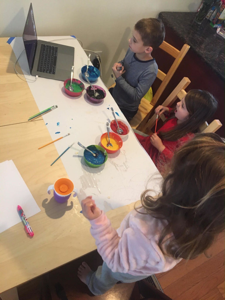 Nebinger parent Hilary Truppo's children, ages 7, 5, and 2, all participate in the school's online art classes. (Courtesy of The Truppo family)