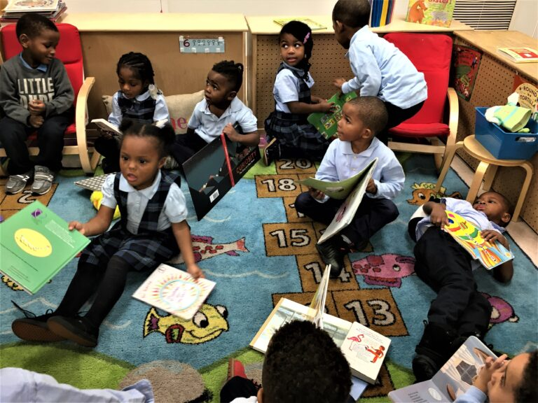 Kids gather to read at Xavier's Family Childcare.