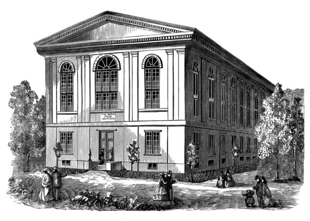 A woodcut of the Wagner Free Institute of Science, circa 1865 (The Wagner Free Institute of Science)