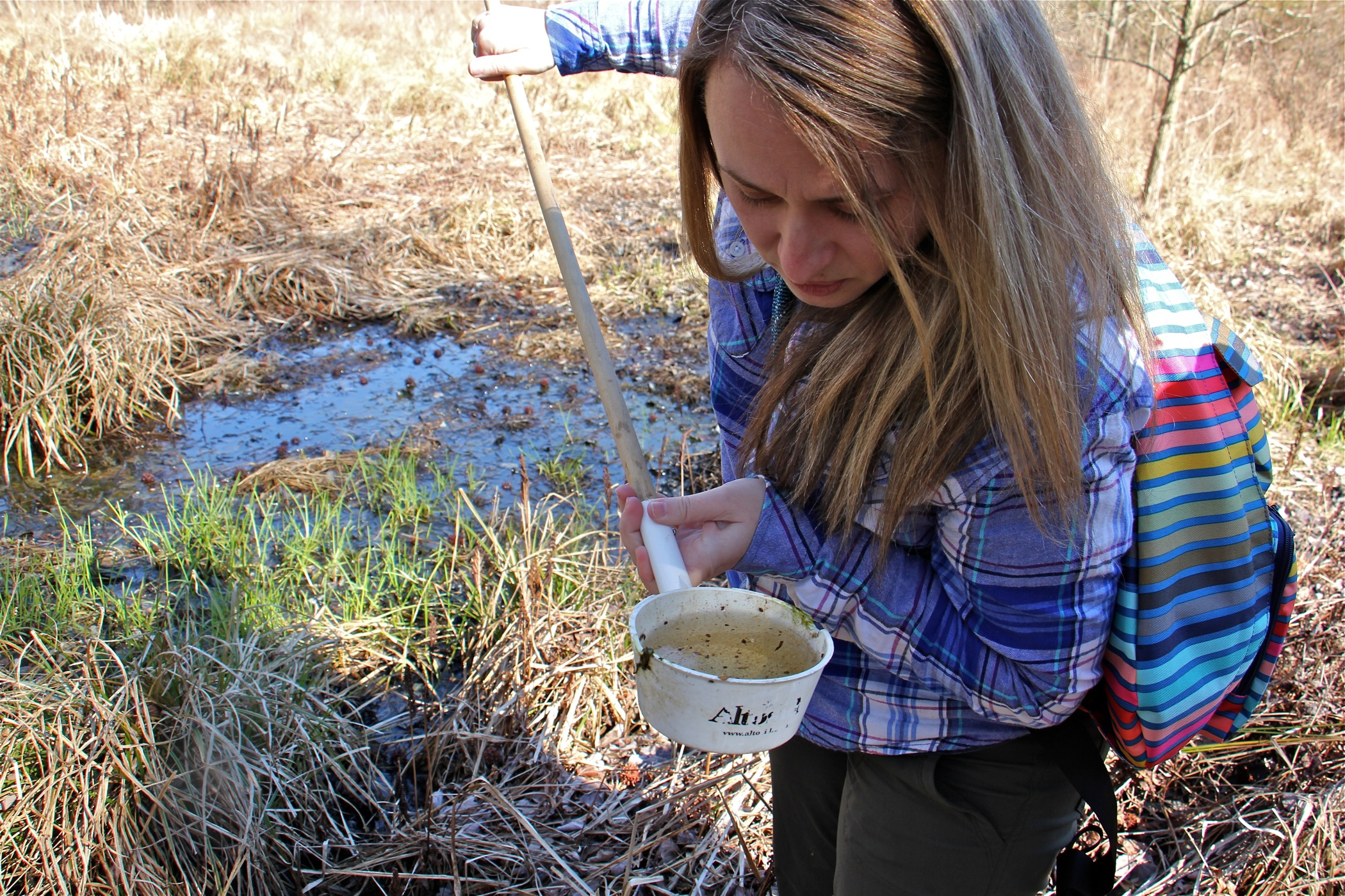 Autumn Angelus inspects a sample drawn from a vernal pool at Elmer Lake Wildlife Management Area. (Emma Lee/WHYY)