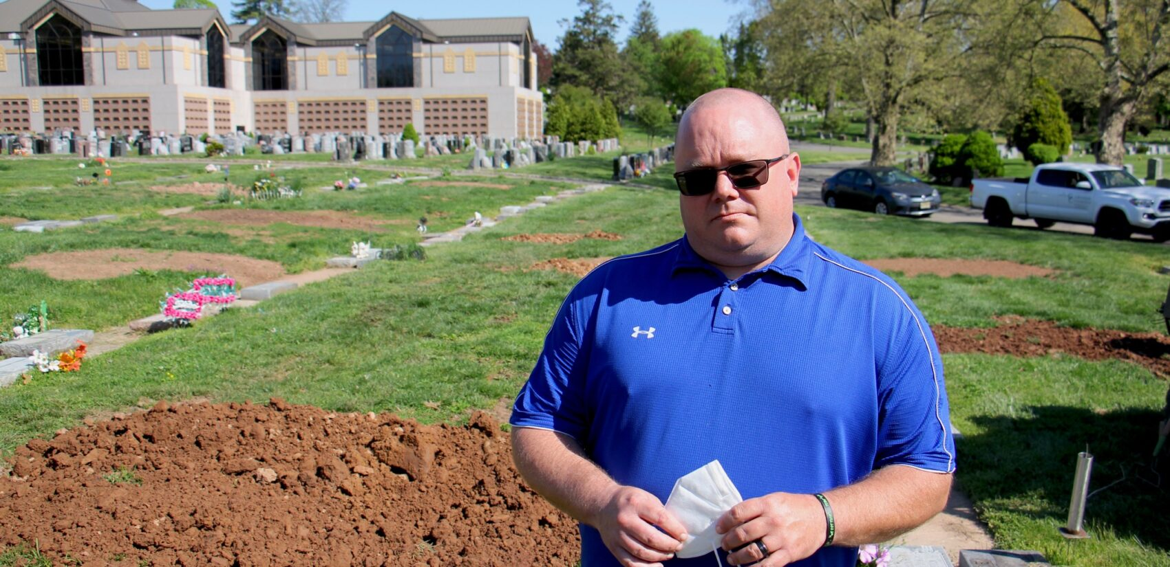Glendale Cemetery foreman Jeff Dodgson and his crew have been dealing with a surge in burials since the coronavirus pandemic reached northern New Jersey. (Emma Lee/WHYY)