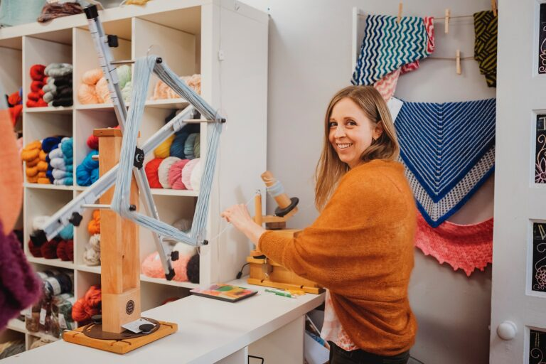 Danique Martin's knitting business in Haddonfield, N.J., Hooked Fine Yarn Boutique, was already delivering online orders when the governor okayed curbside pickups. However, Martin says she makes most of her revenue from classes. (provided by Danique Martin)