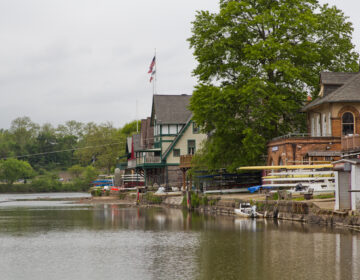 Docks along boathouse row were removed to allow dredging to deepen the Schuylkill River. (Kimberly Paynter/WHYY)