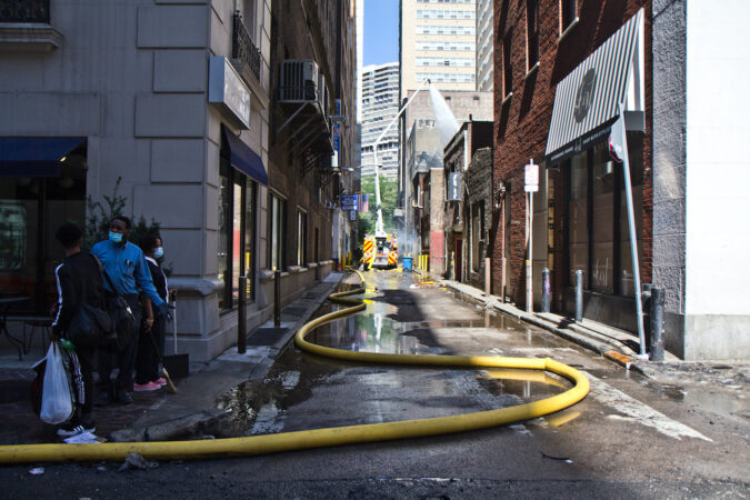 The fire department was still working to put out flames Sunday morning