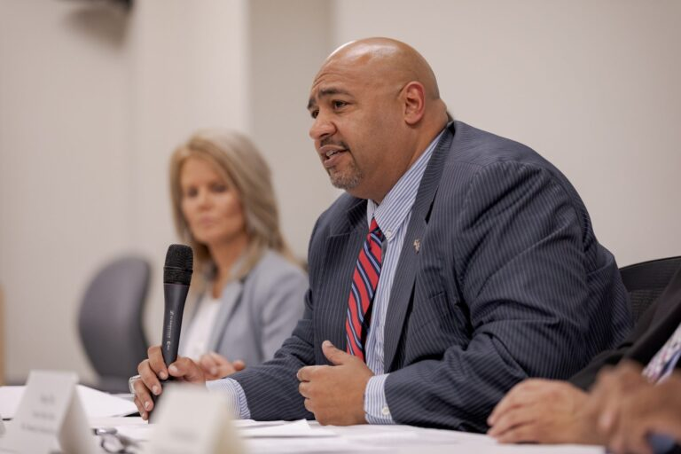Secretary of Corrections John Wetzel discusses results of an internal review of parole cases that involved recent homicides or attempted homicides, during a press conference in Mechanicsburg on Wednesday, August 28, 2019.  (Commonwealth Media Services)