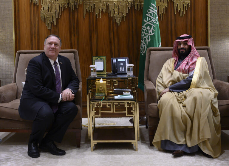 U.S. Secretary of State Mike Pompeo, left, meets with Saudi Arabia's Crown Prince Mohammed bin Salman at Irqah Palace, in Riyadh Saudi Arabia, Thursday, February 20, 2020. Pompeo met with King Salman in the capital, Riyadh, on Thursday. (Andrew Caballero-Reynolds/Pool via AP)