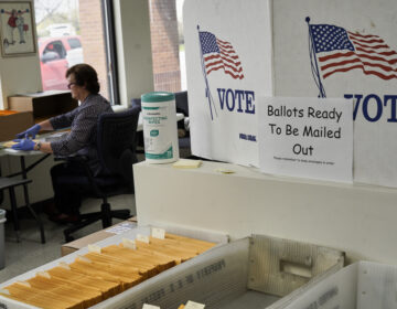 In this April 14, 2020 photo, mail-in ballots are ready to be mailed. (AP Photo/Nati Harnik)