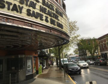 The marquee of the Campus Theatre in downtown Lewisburg, P.a, on Friday, May 8, 2020, tells moviegoers it hopes to reopen soon. Some of the retail shops in the town's Market Street shopping strip reopened after about two months on Friday, with a  trickle of customers, as Union County was considered to be safe enough to begin to loosen social distancing restrictions. (AP Photo/Mark Scolforo)