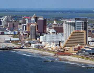 This July 11, 2014 aerial photo shows the Atlantic City N.J. shoreline. On May 12, 2020, the city's voters will decide whether to eliminate an elected mayor in favor of an appointed city manager. (AP Photo/Wayne Parry)