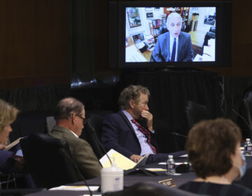 Senators listen as Dr. Anthony Fauci, director of the National Institute of Allergy and Infectious Diseases, speaks remotely during a virtual Senate Committee for Health, Education, Labor, and Pensions hearing.