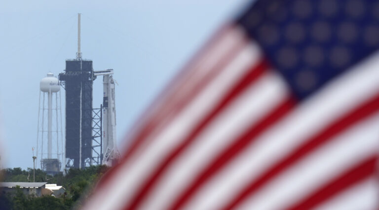 A SpaceX Falcon 9, with NASA astronauts Doug Hurley and Bob Behnken in the Crew Dragon capsule, sits on Launch Pad 39-A at the Kennedy Space Center in Cape Canaveral, Fla., Saturday, May 30, 2020. (AP Photo/David J. Phillip)