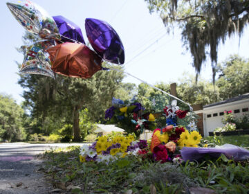 A memorial at the spot where Ahmaud Arbery was shot and killed in Brunswick, Ga.