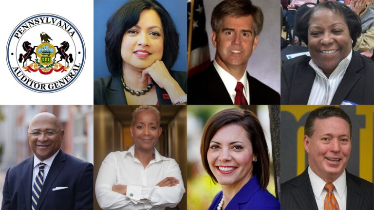 Candidates for Pennsylvania Auditor General, clockwise from Top L: Nina Ahmad (D), Scott Conklin (D), Rosie Davis (D), Michael Lamb (D), Christina Hartman (D), Tracie Fountain (D), and Timothy DeFoor (R). (Courtesy of candidate campaigns)