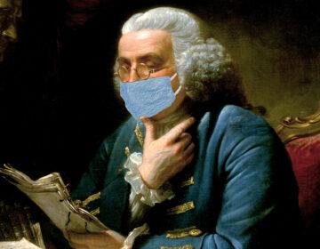 Ben Franklin dons face mask