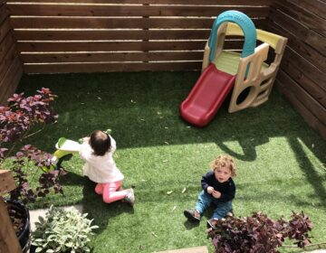 Danielle and Wil Rivera's 19-month-old twins play in their newly decorate backyard. (Courtesy of Danielle Rivera)