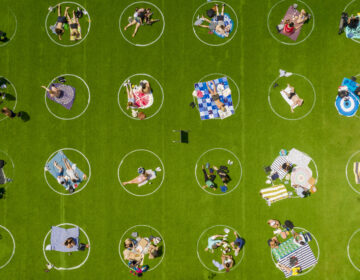 Circles drawn on the lawn of Domino Park in Brooklyn help enforce social distancing guidelines. (Two Trees Management)