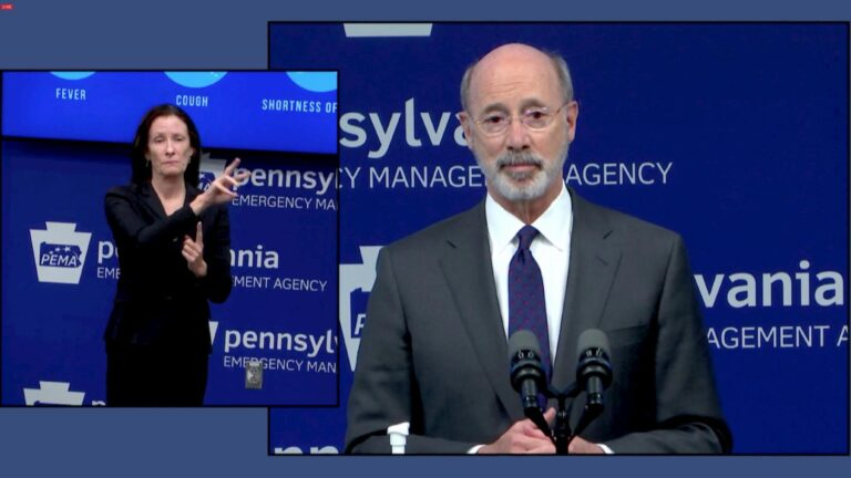 Gov. Tom Wolf speaks during a May 4, 2020, press conference on Pa.'s June 2 primary election. (Courtesy Gov. Wolf livestream)