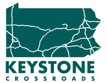 Keystone Crossroads logo: Green state of Pennsylvania logo with highways shown