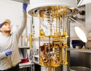 A cryostat used to explore quantum technologies. (Image courtesy of Hakonen Pertti and the Low Temperature Laboratory at Aalto University's School of Science)