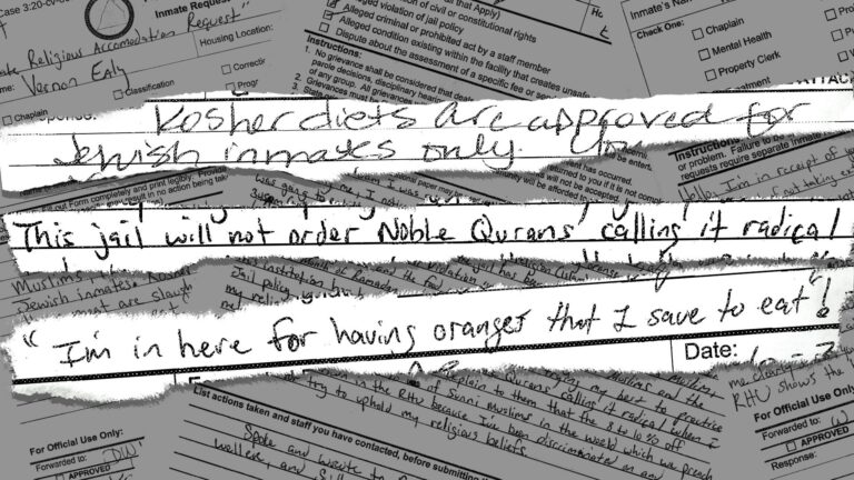 Photo illustration by WITF's Tom Downing  Excerpts from grievances filed by incarcerated Muslims held at the Franklin County Prison. (Tom Downing/WITF)