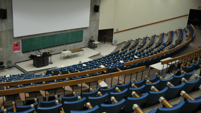 Empty college lecture hall