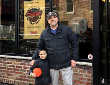 Danny DiGiampietro and his son (and restaurant's namesake) Angelo in 2019. (Danya Henninger/Billy Penn)