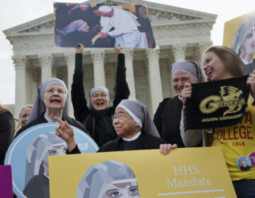 Nuns with the Little Sisters of The Poor rally outside Supreme Court