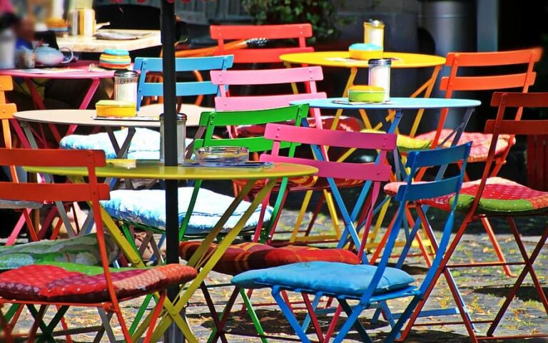 Folding chairs at an outside cafe