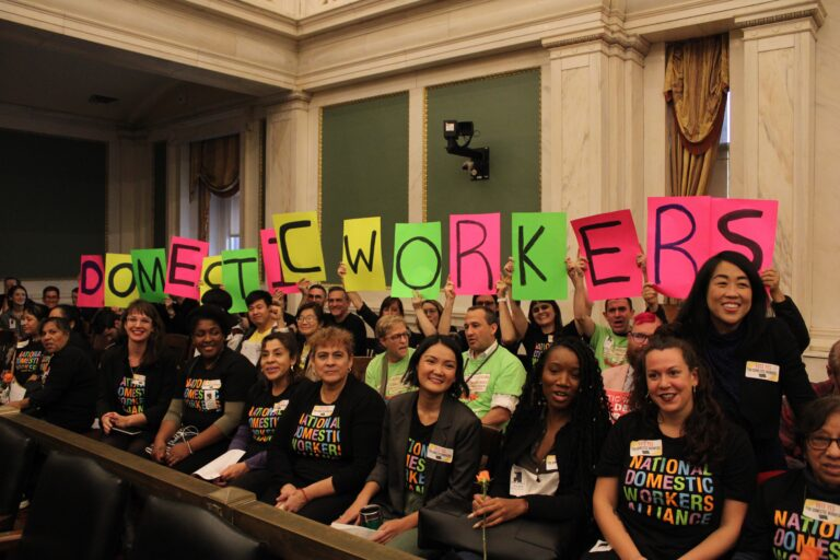 Members of the Pennsylvania Domestic Workers Alliance and Councilmember Helen Gym gathered inside City Council chambers on Oct. 31 prior to the Law and Government Committee's passage of the Philadelphia Domestic Workers Bill of Rights which goes into effect May 1, 2020. (AL DÍA News)
