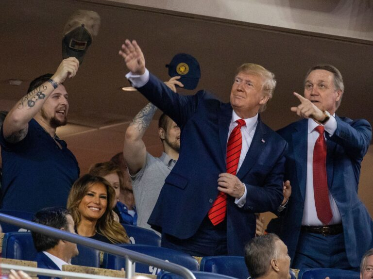 President Trump stands during Game 5 of the World Series at Nationals Park in Washington, D.C., last October. (Tasos Katopodis/AFP via Getty Images)