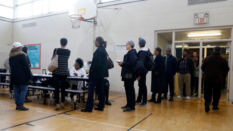 People stand in line at a Detroit polling place during Michigan's March 10 presidential primary. Because of the pandemic, the state's top election official is sending absentee ballot applications to every registered voter for August and November elections. (Jeff Kowalsky/AFP via Getty Images)