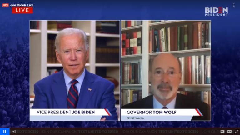 Former Vice President Joe Biden and Pennsylvania Gov. Tom Wolf