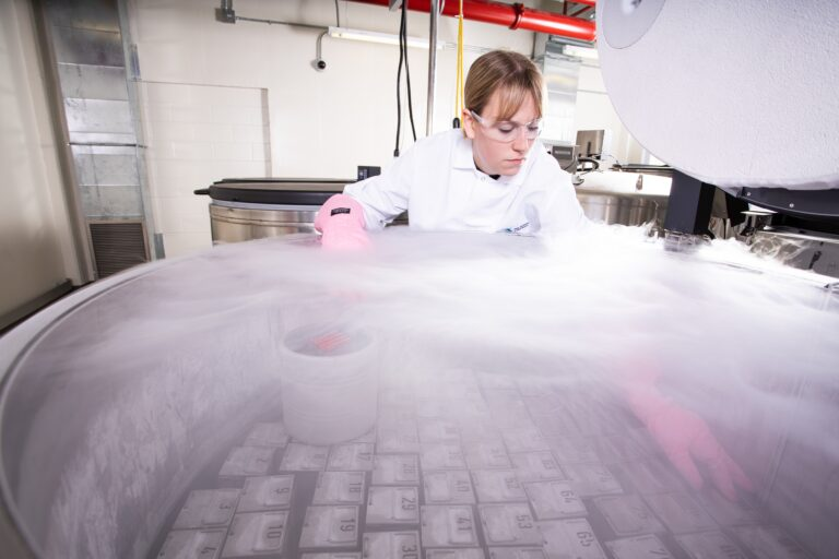 Michelle Burns, RS senior technologist in the cryopreservation tanks, March 10 2020 (Image courtesy of The Jackson Lab)