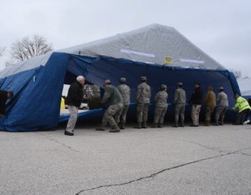 Nearly 80 members of the Pennsylvania National Guard are assisting Montgomery County Emergency Management Agency with operating a COVID-19 testing site in Upper Dublin Township, Montgomery County. (Master Sgt. George Roach / Pennsylvania National Guard)