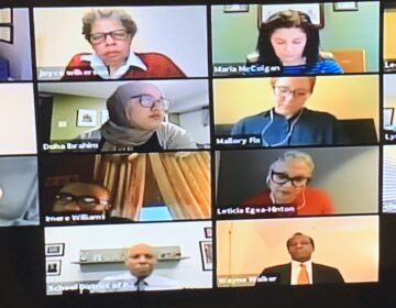A screenshot of the Board of Education action meeting on April 30.