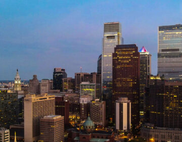 The Philadelphia skyline is pictured at dusk in May 2020.