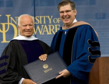 Wayne Craven (left) received an honorary Doctor of Humane Letters degree from Board of Trustees Chair Howard Cosgrove at University of Delaware's 2008 commencement ceremony. The citation called Dr. Craven a 'champion of American art' and a 'fluent and graceful teacher.' (University of Delaware)