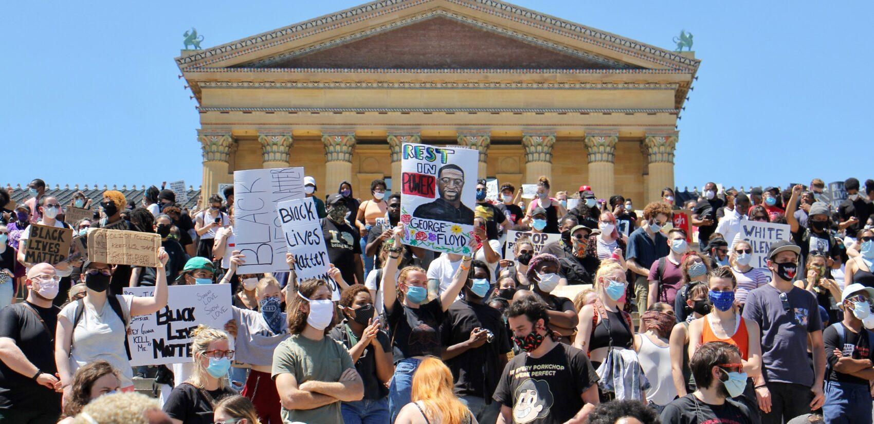 Hundreds rally on the steps of the Philadelphia art museum