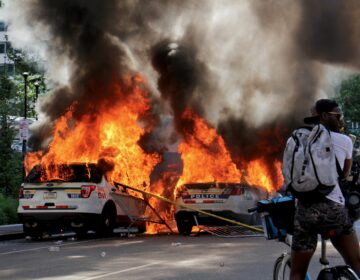 Police cars burn in front of City Hall