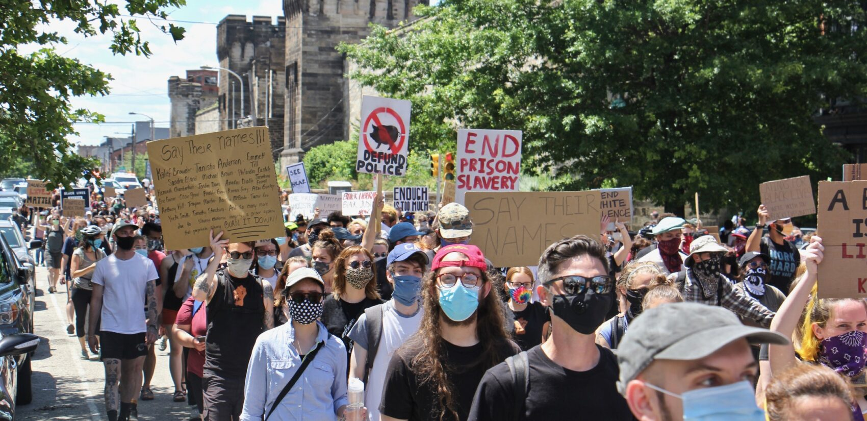 Protesters march from Eastern State Penitentiary