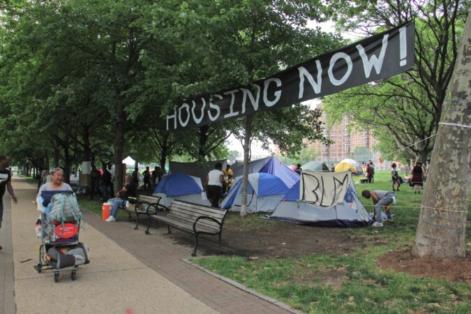 Encampment on Ben Franklin Parkway
