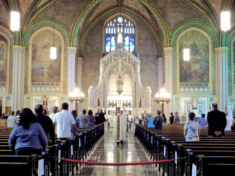 For the second Sunday since restrictions were lifted, Catholic churches in the Philadelphia archdiocese gathered for in-person services in June 2020. (Ximena Conde/WHYY News)